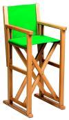 Høy barnestol i bøk, modell F. Lakkert i farge: natur. Stoff: canvas. Farge: lime grønn ref: 2246
