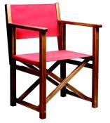 Stol i bøk, modell K. Lakkert i farge: brandy. Stoff: canvas. Farge: rød ref: 2210