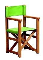Barnestol i bøk, modell S. Lakkert i farge: honning . Stoff: canvas. Farge: lime grønn ref: 2246